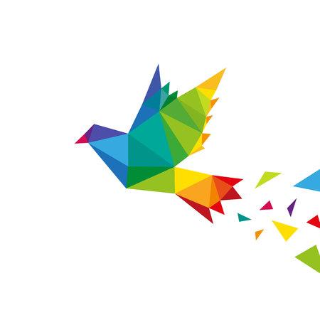 白い背景、ベクトル図で分離された鳥抽象的な三角形設計概念要素