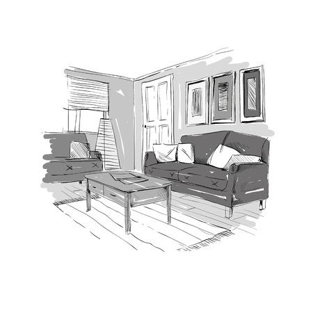 cosiness: Living room design interior sketch. Hand drawn vector illustration Illustration