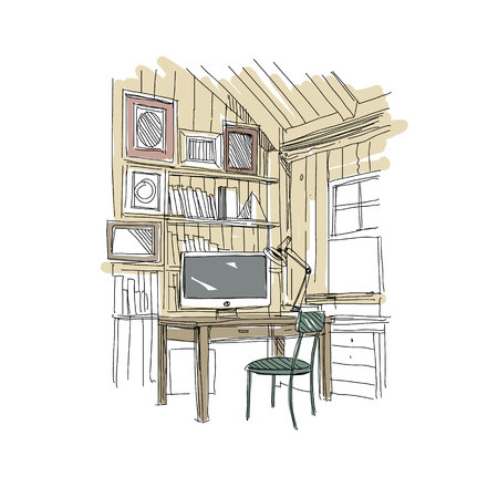 working place: Sketch interior comfortable workplace. Hand drawn vector illustration Illustration