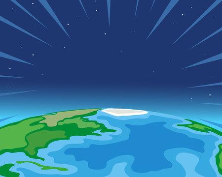 地球空間の図の背景から  イラスト・ベクター素材