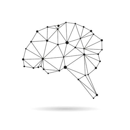brain illustration: Geometric brain design silhouette. Black line illustration