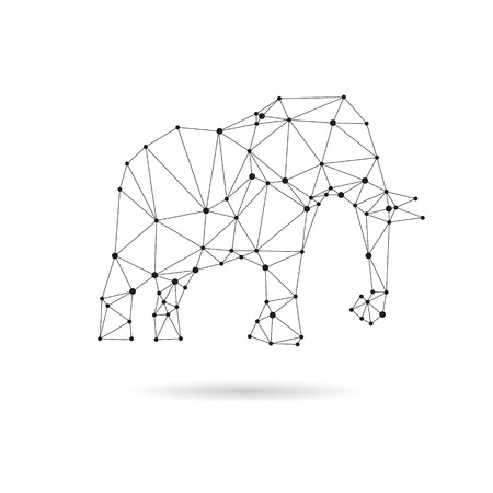 Geometric elephant design silhouette. Black line illustration Çizim