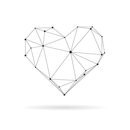 기하학적 심장 디자인 실루엣. 검은 선 그림 일러스트