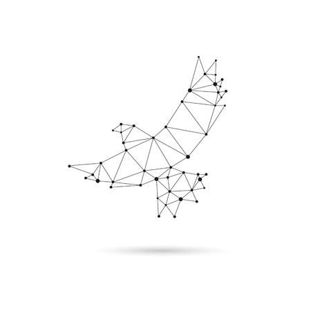 Geometric dove design silhouette. Black line illustration Иллюстрация
