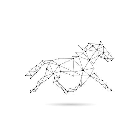Geometric horse design silhouette. Black line illustration