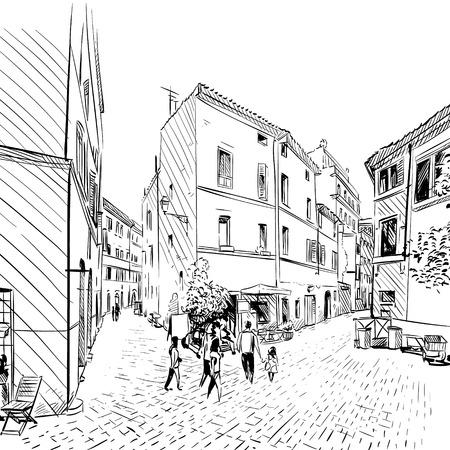 city street: City . Street sketch, illustration