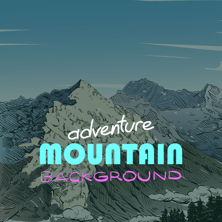 ski resort: mountain backgrounds, illustration