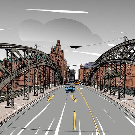tar felt: bridge, city sketch,  illustration Illustration