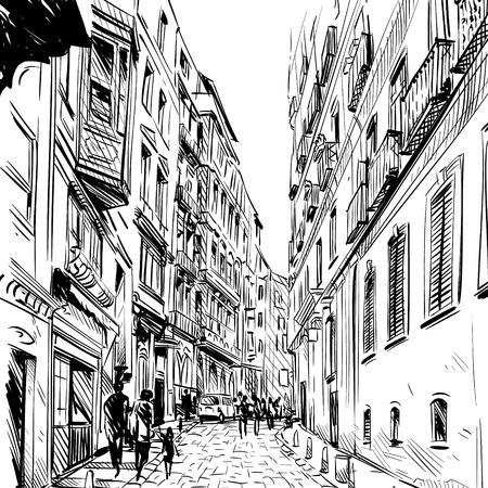 Città. Via schizzo, illustrazione Vettoriali
