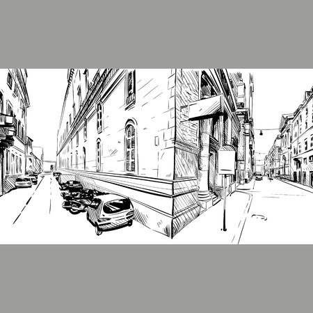 sketch drawing: City . Street sketch, illustration