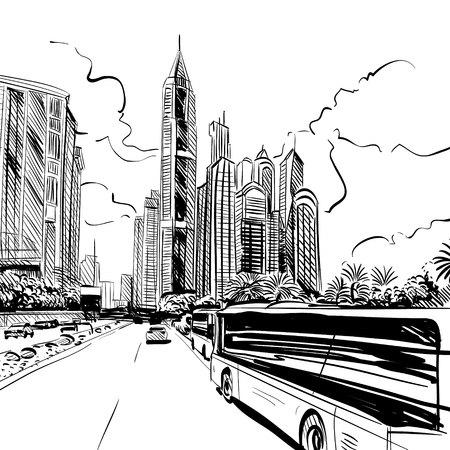 building site: Building design site background, illustration