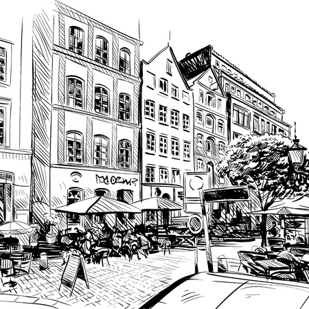 outdoor advertising construction: City. Cafe sketch, illustration