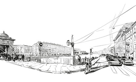 petersburg: Russia. Saint Petersburg. Unusual perspective hand drawn sketch. City illustration