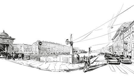 Russia. Saint Petersburg. Unusual perspective hand drawn sketch. City illustration