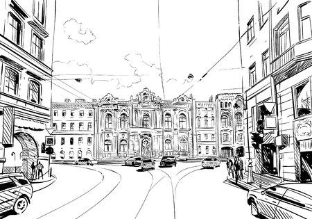 Russie. Saint-Pétersbourg. Insolite croquis en perspective. Ville illustration