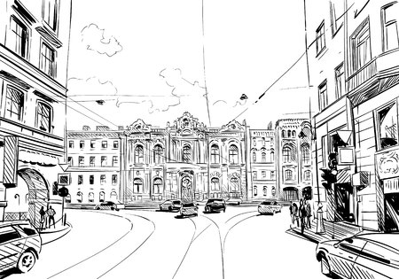 Russia. Saint Petersburg. Unusual perspective sketch. City illustration Illustration