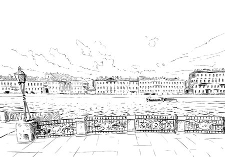 outdoor advertising construction: Russia. Saint Petersburg. Unusual perspective sketch. City illustration Illustration