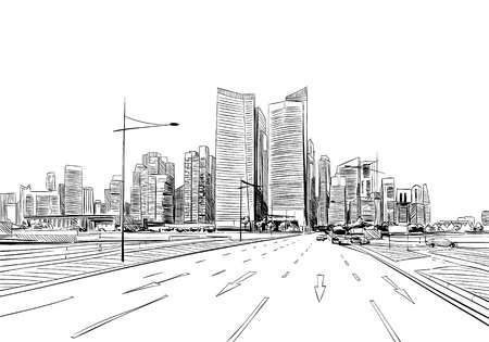 pencil drawing: Unusual perspective  sketch. City illustration