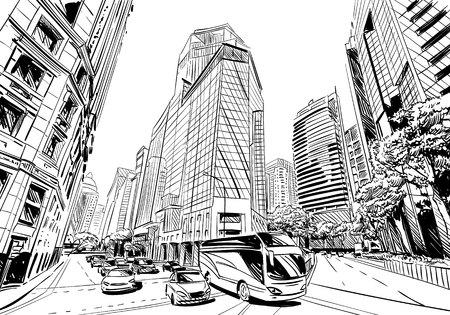 Ungewöhnliche Perspektive Skizze. Stadt Illustration