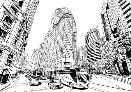 outdoor advertising construction: Unusual perspective  sketch. City illustration