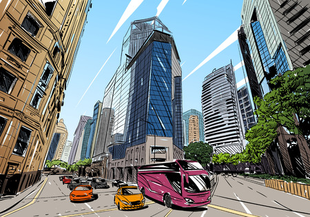 perspectives: Unusual perspective  sketch. City illustration