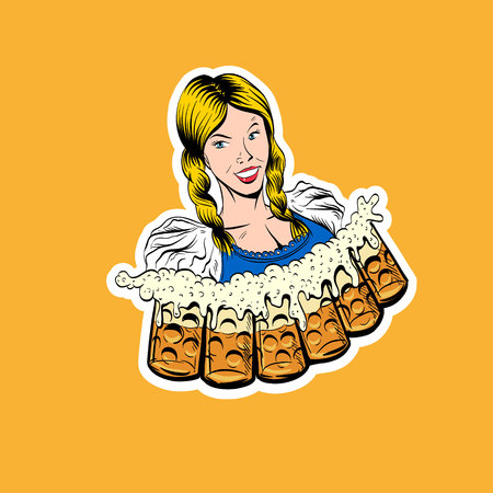 The waitress brings glasses of beer. Octoberfest. Hand drawn sketch, illustration