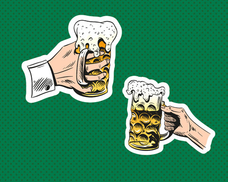 Hand with glass of beer.Octoberfest. Hand drawn sketch, illustration