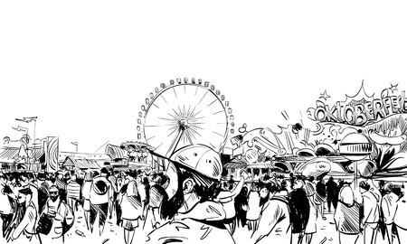 sketch: Germany. Munich. Octoberfest. Hand drawn sketch, illustration Illustration