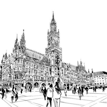 Allemagne. Munich. Marienplatz. Main, dessiné croquis, illustration