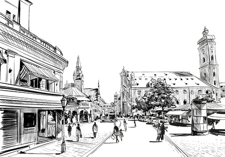 Germany. Munich. Hand drawn sketch, illustration