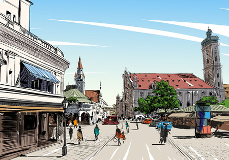 perspective: Germany. Munich. Hand drawn sketch, illustration