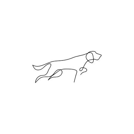 One line dog design silhouette. Hound. Hand drawn minimalism style vector illustration