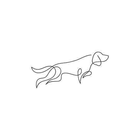 One line dog design silhouette. Hound. Hand drawn minimalism style vector illustration