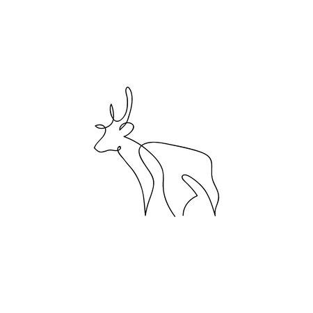 cutaway drawing: One line deer design silhouette. Hand drawn minimalism style vector illustration Illustration