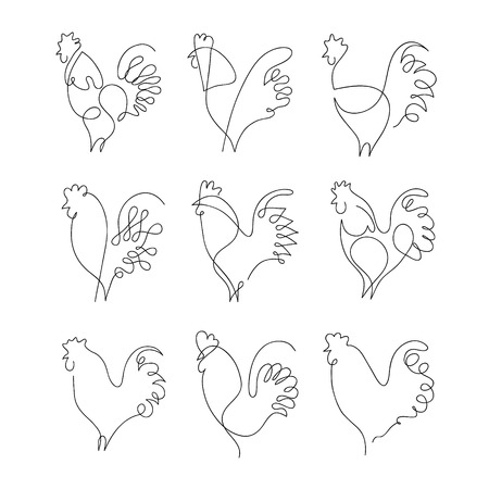 carne de pollo: One line rooster design silhouette.Hand drawn minimalism style vector illustration Vectores
