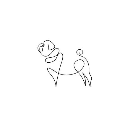 1 行犬デザイン シルエット。パグ犬。手描きミニマリズム スタイル ベクトル図  イラスト・ベクター素材