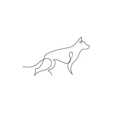 One line dog design silhouette. German Shepherd. Hand drawn minimalism style vector illustration