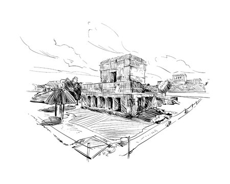 old ruin: Mexico. Temple of the Frescoes. Hand drawn vector illustration.