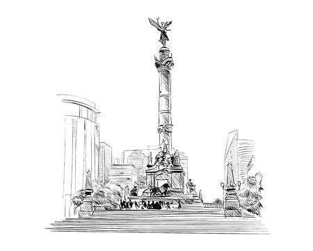 angel de la independencia: Méjico. Ángel de la columna de la independencia. Dibujado a mano ilustración vectorial.
