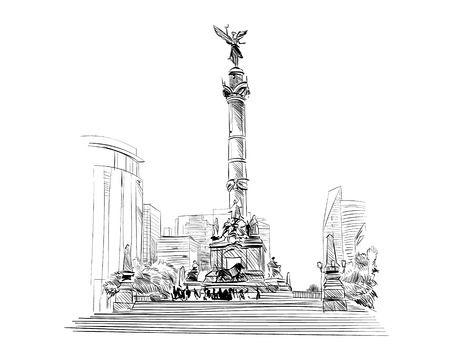Mexico. Angel of independence column. Hand drawn vector illustration.