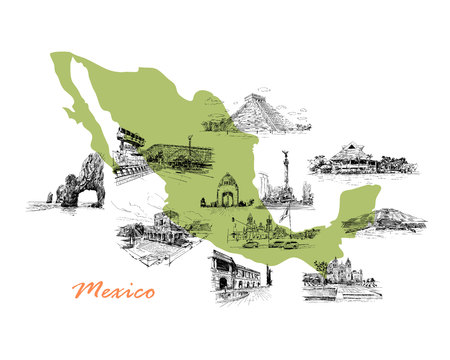 assumption: Landmarks of Mexico located on the map. Hand drawn vector illustration.