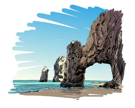 Mexico. Cabo San Lucas. El Arco. Hand drawn vector illustration.