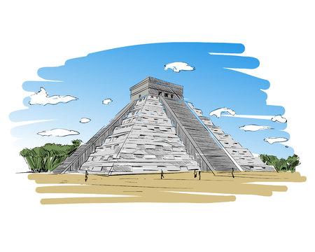 Mexico. Chichen Itza.Kukulkan. Hand drawn vector illustration.