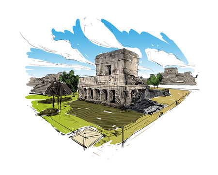 old town: Mexico. Temple of the Frescoes. Hand drawn vector illustration.