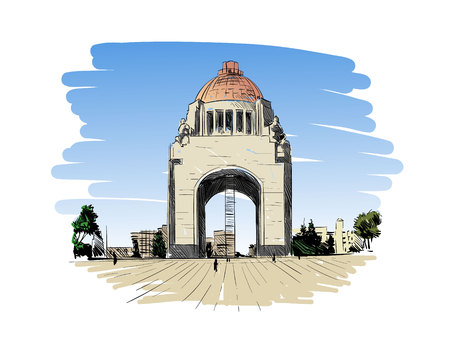 monuments: Mexico. Revolution Monument. Hand drawn vector illustration.