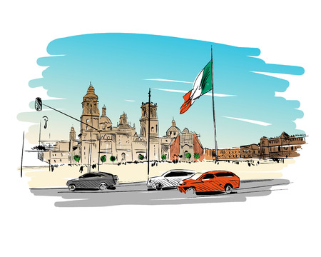 Mexico. Constitution Square.Cathedral of the Assumption of Mar. Hand drawn vector illustration.