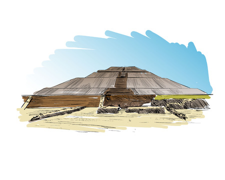 Mexico. Pyramid of the Sun.Teotihuacan. Hand drawn vector illustration.
