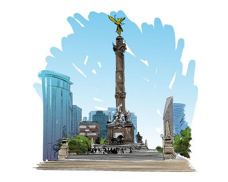 angel de la independencia: Mexico. Angel of independence column. Hand drawn vector illustration.