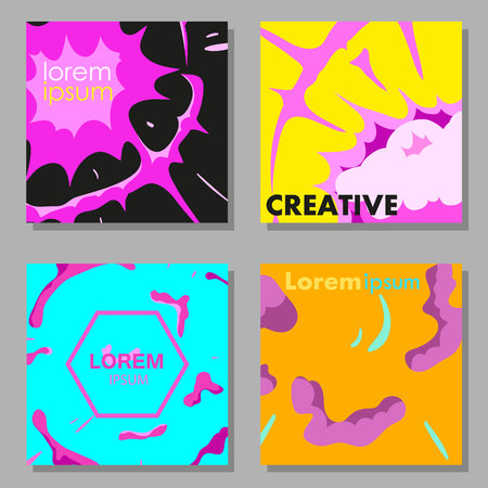 Colorful abstract vector backgrounds set. Design industry for posters, placards, banners, flyers, covers templates. Hand drawn vector illustration. Illustration
