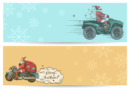 Christmas flyers set.Santa Claus on a motorcycle. Hand drawn vector illustration.